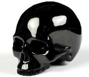 "3.0"" Black Obsidian Carved Crystal Skull Without Jaw, Realistic, Crystal Healing"