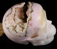 "Lifesized 7.0"" Pink Aragonite Carved Crystal Geode Skull, Crystal Healing"