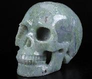 "3.1"" Green Moss Agate Geode Carved Crystal Skull, Realistic, Crystal Healing"