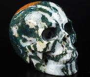 "Huge 5.0"" Green Zebra Jasper Carved Crystal Skull, Realistic, Crystal Healing"