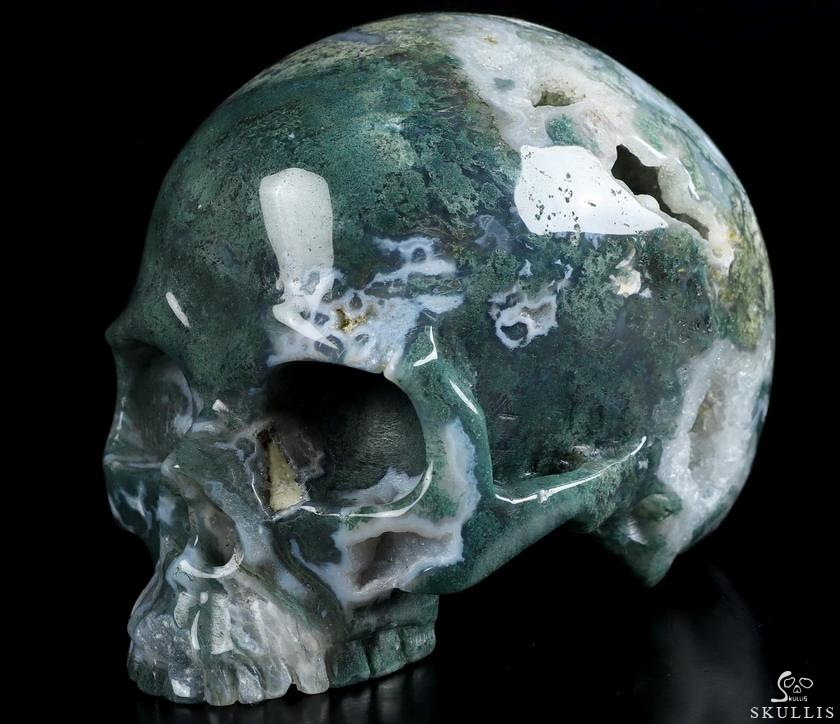 Green Moss Agate Crystal Skull Without Jaw
