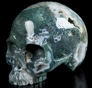 "Nice 4.7"" Green Moss Agate Carved Crystal Skull Without Jaw, Crystal Healing"