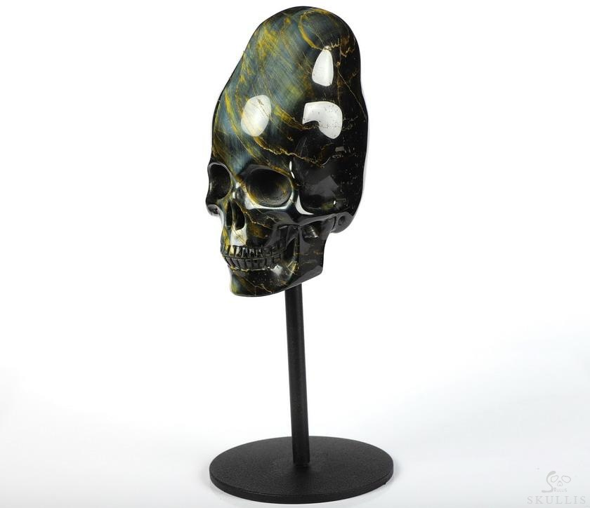 Blue & Gold Tiger's Eye Crystal Incan Skull With Stand