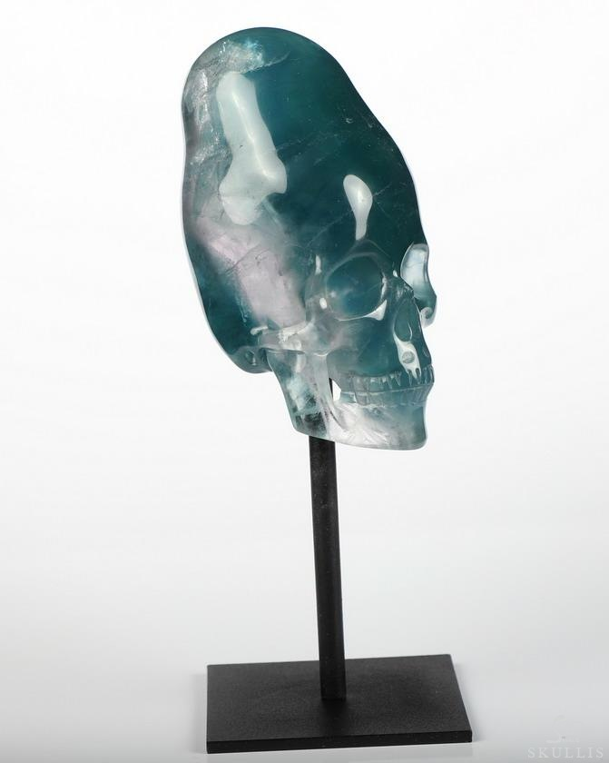 Fluorite Crystal Incan Skull With Stand