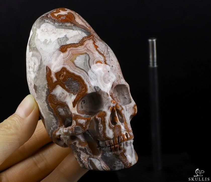 Red Crazy Lace Agate Crystal Incan Skull With Stand
