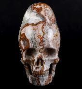 "GEMSTONE 4.0"" Red Crazy Lace Agate Carved Crystal Incan Skull With Stand, Crystal Healing"