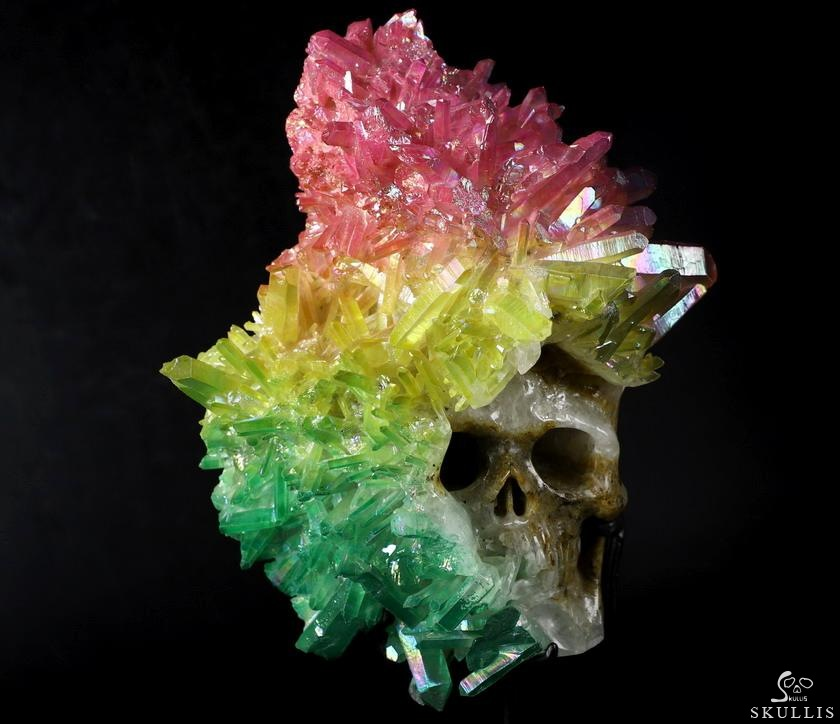 Aura Titanium Quartz Druse Crystal Skull Sculpture, Stand included.