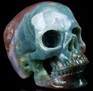 "Huge 5.0"" Indian Agate Carved Crystal Skull,Super Realistic, Crystal Healing"