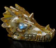 "Huge 5.3"" Bamboo Stone Carved Crystal Dragon Skull, Labradorite Eyes, Crystal Healing"