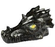 "5.3"" Russian Arfvedsonite Carved Crystal Dragon Skull, Labradorite Eyes, Crystal Healing"