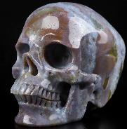 "Huge 5.1"" Indian Agate Carved Crystal Skull,Super Realistic, Crystal Healing"