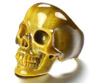 Flash US #12 Gold Tiger's Eye Carved Crystal Skull, Crystal Healing Ring Inside Diameter (22 mm)