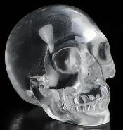 "Clear 0.9"" Quartz Rock Crystal Carved Crystal Skull, Realistic, Crystal Healing"