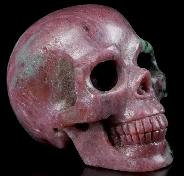 "GEMSTONE 1.5"" Ruby Zoisite Carved Crystal Skull, Realistic, Crystal Healing"