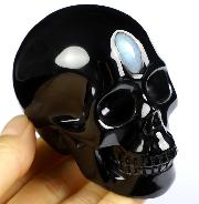 "3.0"" Black Obsidian Carved Crystal Skull, Realistic, Crystal Healing"