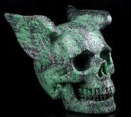 "5.1"" Ruby Zoisite Carved Crystal Skull With Wings, Crystal Healing"