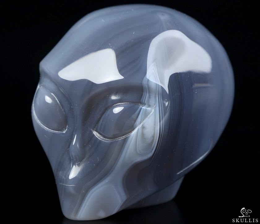 Gray & White Agate Crystal Skull Companion