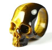 Ring Inside Diameter10(20 mm) Gold Tiger's Eye Carved Crystal Skull Ring, Crystal Healing