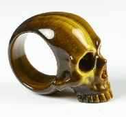 Ring Inside Diameter8(18 mm) Gold Tiger's Eye Carved Crystal Skull Ring, Crystal Healing