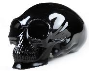 "Titan 11.0"" Black Obsidian Carved Elongated Mayan Alien Skull, Kingdom of Crystal Skulls, Realistic"