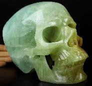 "Gemstone Lifesized 7.1"" Aquamarine Carved Crystal Skull,Super Realistic, Crystal Healing"