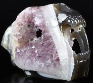 "Amazing 7.7"" Amethyst & Agate Carved Smilodon SABER-TOOTHED Tiger/Cat Skull, Crystal Healing"