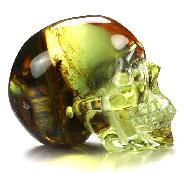 "Gemstone 1.3"" Baltic Amber Carved Crystal Skull, Realistic, Crystal Healing"