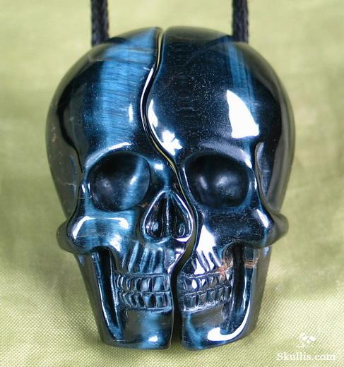Blue Tiger's Eye Crystal Skull Lovers Pendants