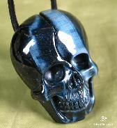 Blue Tiger's Eye Carved Crystal Skull Lovers Pendants, Realistic