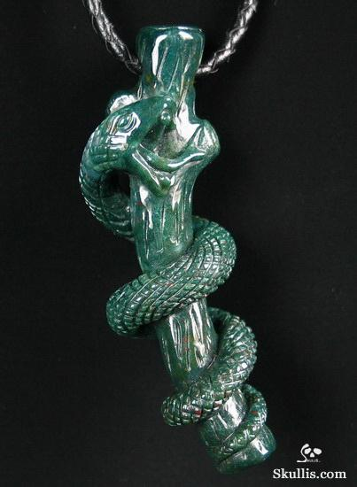 Bloodstone Snake with Coral Branch Pendant