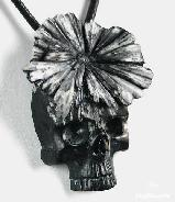 Chrysanthemum Stone Carved Skull Pendant, Crystal