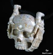 Coral Fossil Carved Skull with Bones Pendant, Gemstone