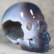 "STUNNING GEODE Recommend Huge 5.2"" Agate Carved Crystal Skull, Realistic"