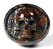 "Gemstone 2.3"" Blue, Gold & Red Pietersite Carved Crystal Skull Buckle, Crystal Healing"
