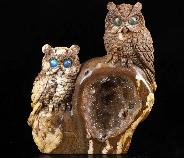 "GEODE 4.6"" Petrified Wood Carved Crystal Owls, Labradorite Eyes"