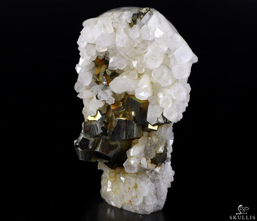 Pyrite Druse Crystal Skull With Spine