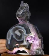 "Original 6.5"" Agate Amethyst Geode Carved Crystal Skull With Owl Standing Sculpture, Crystal Healing"