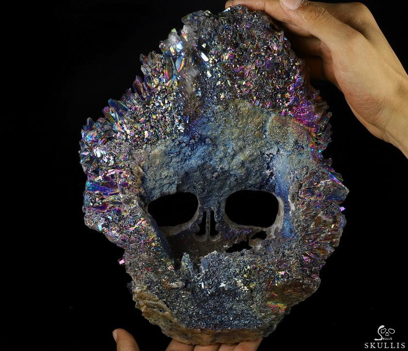 Rainbow Quartz Rock Crystal Druse Crystal Skull Sculpture