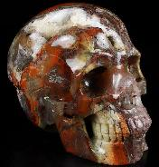 "Geode 4.1"" Red Crazy Lace Agate Carved Crystal Skull, Realistic, Crystal Healing"