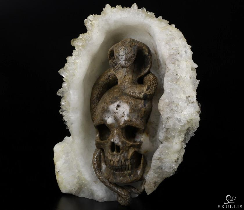 Quartz Rock Crystal Crystal Skull With Cobra