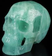 "AMAZING GEMSTONE HUGE 5.1"" Aquamarine Carved Crystal Skull,Super Realistic, Crystal Healing"