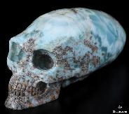 "GEMSTONE 5.8"" Larimar Carved Crystal Elongated Mayan Alien Skull, Kingdom of Crystal Skulls"