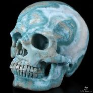 "Amazing Gemstone 4.4"" Larimar Carved Crystal Skull,Super Realistic, Crystal Healing"