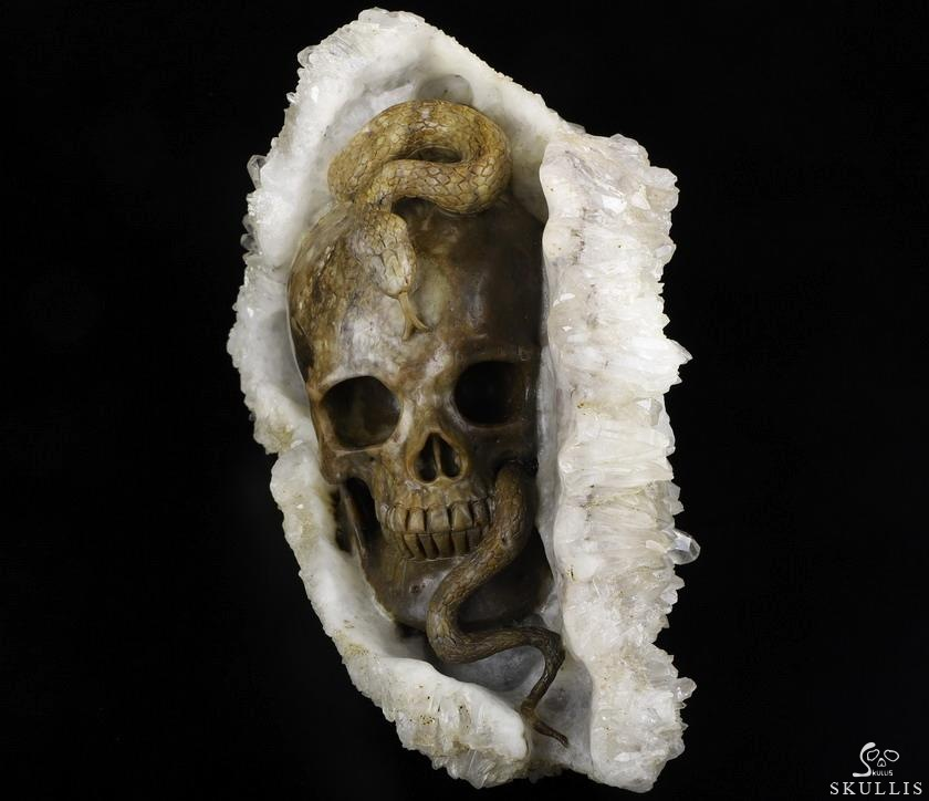 Quartz Rock Crystal Druse Crystal Skull & Snake Sculpture