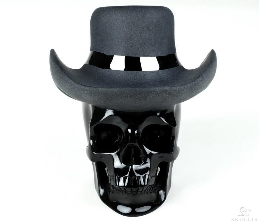Black Obsidian Crystal Frosted Hat Skull