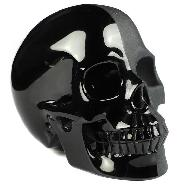 "4.8"" Black Obsidian Carved Crystal Half Froested Skull, Crystal Healing"