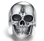 925 Sterling Silver Carved Crystal Skull with Tsavorite Eyes Ring, Skull Jewelry