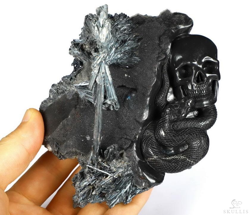 Stibnite Crystal Skull With Snake Sculpture