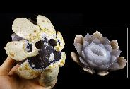 "Original Design 3.6"" Agate Deode Carved Crystal Flower & Skull Sculpture, Healing"
