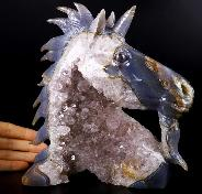 "Huge 7.5"" Agate Amethyst Geode Carved Crystal Unicorn, Crystal Healing"